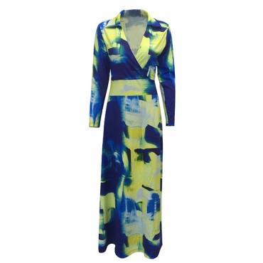 Новый euramerican V шеи длинным рукавом граффити печати здоровую ткань длина пола платье