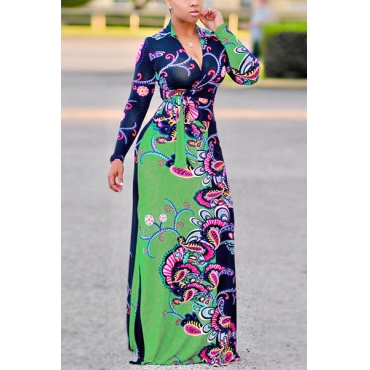 Euramerican V Neck Long Sleeves Floral Print Cotton Floor length Dress