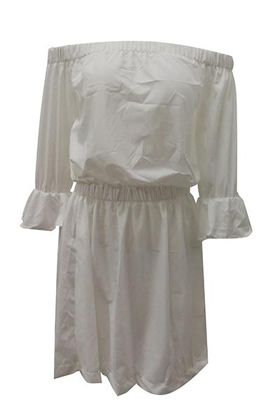Euramerican Dew Shoulder Half Sleeves White Cotton Blend Mini Dress