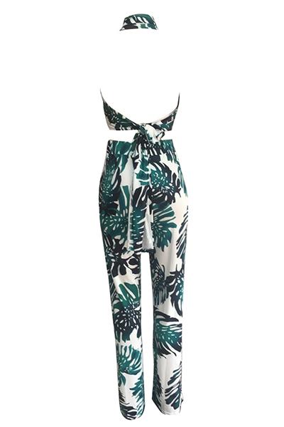 Elegante Rocío Hombro Impreso Verde Qmilch Pantalones De Dos Piezas Conjunto