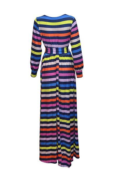 Stylish V Neck Long Sleeves Striped Printed Milk Fiber Ankle Length Dress