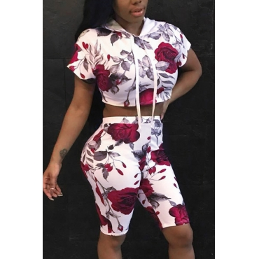 Leisure Rose Printed Red Cotton Two-piece Shorts Set