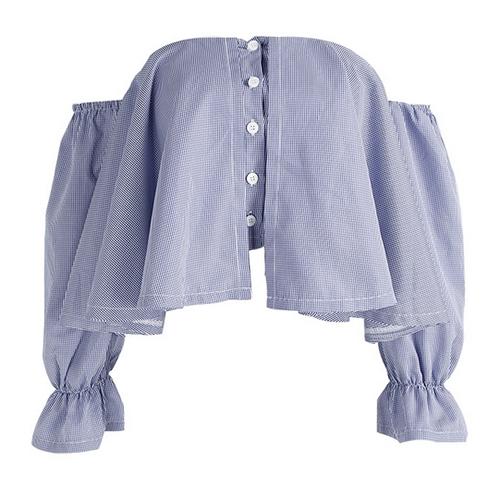 Stylish Dew Shoulder Falbala Design Blue Polyester Tops