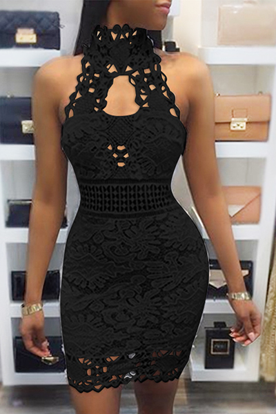 Sexy Backless Black Lace Sheath Mini Dress(Without Lining) Dresses <br><br>