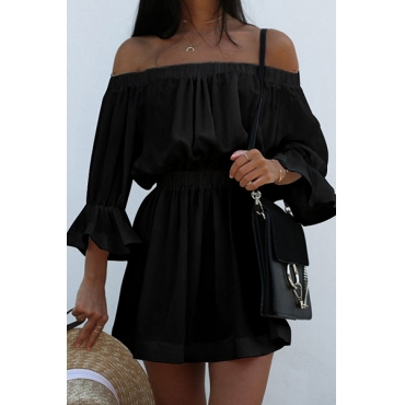 Cotton Sexy Bateau Neck Half Sleeve Mini Dresses