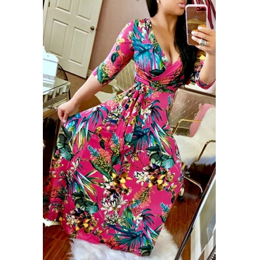 Stylish V Neck Half Sleeves Printed Red Milk Fiber Sheath Ankle Length Dress(Non Positioning Printing)