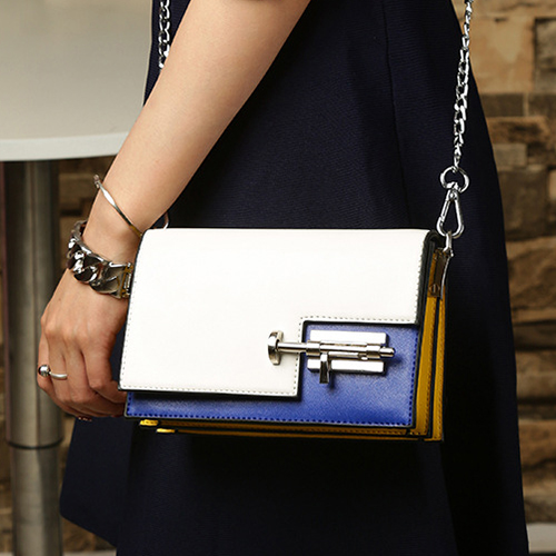 Fashion White Blue Patchwork PU Crossbody Bag
