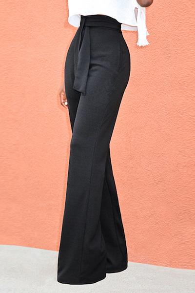 Stylish High Waist Lace-up Black Cotton Pants