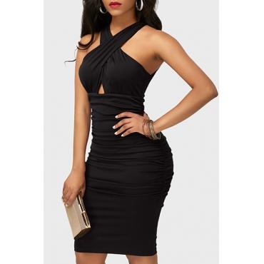 Sexy V-Ausschnitt Ärmelloses Tuch Design Schwarz Gesundes Gewebe Mantel Knielänge Kleid