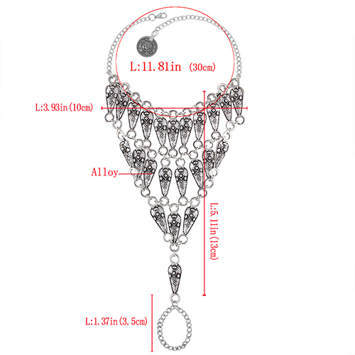 Fashion Hollow-out Silver Metal Body Chain
