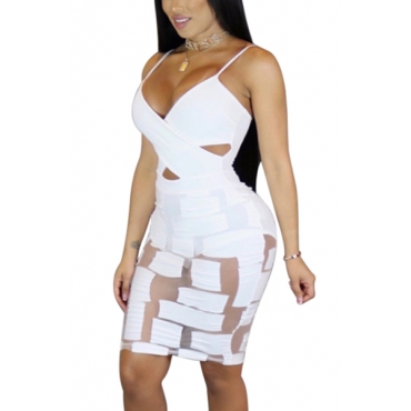 Sexy V Neck See-Through White Milk Fiber Sheath Mini Dress(Include Briefs)