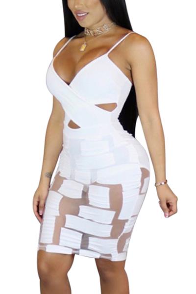Sexy V Neck See-Through White Milk Fiber Sheath Mini Dress(Include Briefs)