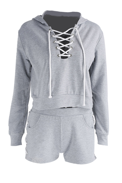 Leisure V Neck Long Sleeves Hollow-out Grey Polyester Two-piece Shorts Set