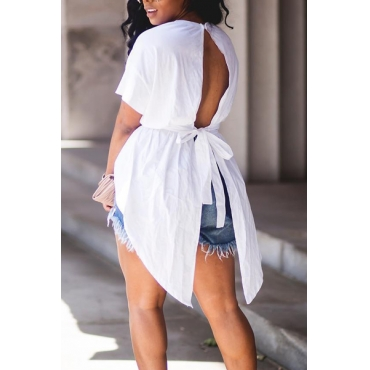 Leisure Round Neck Short Sleeves Backless White Cotton Shirts