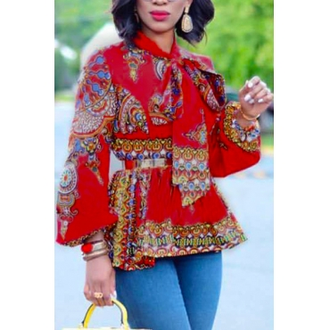Ethnic Style Mandarin Collar Long Sleeves Totem Printed Red Milk Fiber Shirts