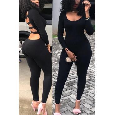 Sexy Backless Black Milk Fiber One-piece Skinny Jumpsuits