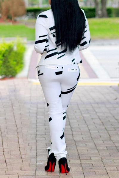 Euramerican Turndown Collar Long Sleeves Printed White Venetian Two-piece Pants Set
