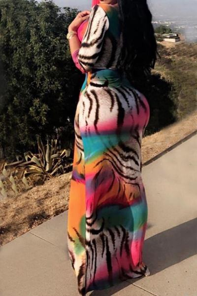 Vestito lungo alla caviglia della fibra del latte stampato manicotto lungo alla moda del collo di V