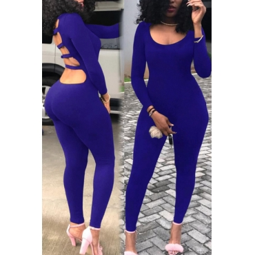 Sexy Round Neck Hollow-out Blue Milk Fiber One-piece Skinny Jumpsuits