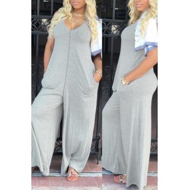 Leisure V Neck Grey Cotton One-piece Jumpsuits