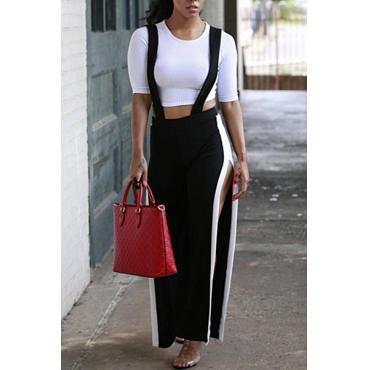 Stylish Elastic Waist Patchwork Black Blending Pants