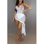 Sexy ver-a través de gasa blanca vaina vestido de longitud de tobillo (Incluya escritos)