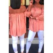 Stylish Dew Shoulder Drape Design Pink Polyester T