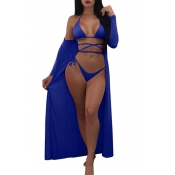 Sexy Lace-up Hollow-out Royalblue Polyester Two-piece Swimwear(With Shawl)