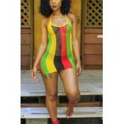 A colored striped dress