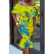 Stylish Dew  Shoulder Printed Yellow Healthy Fabri