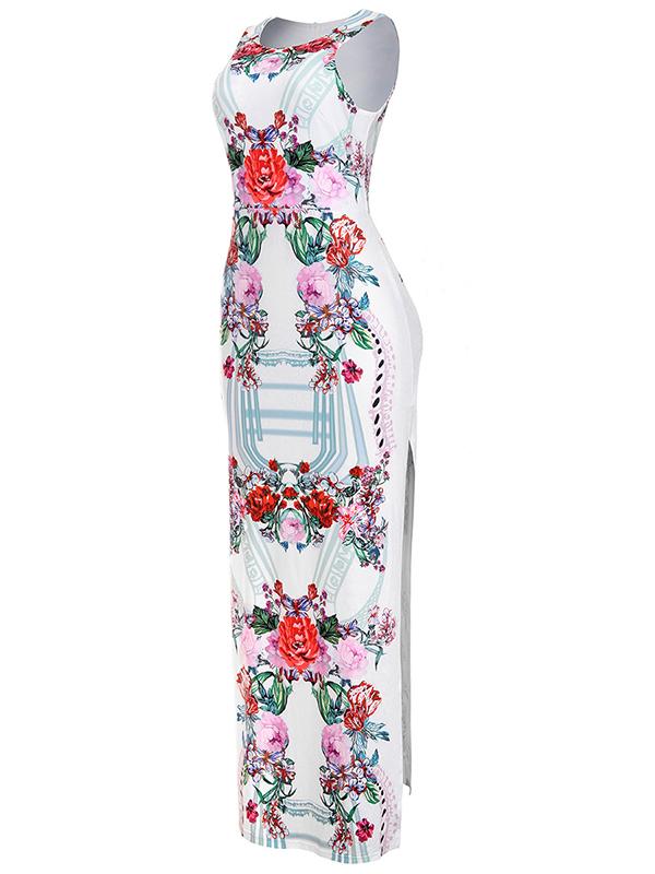 Стильный круглый шейный ремешок из спагетти без рукавов Цветочная печать Qmilch Sheath Anchle Length Dress