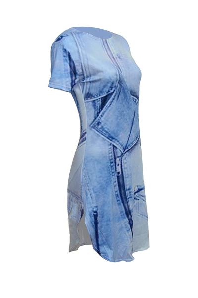 Casual rodada pescoço curto mangas assimétrico azul poliéster bainha mini vestido
