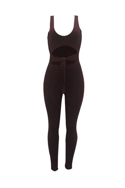 Sexy V Neck Sleeveless Hollow-out Light Purple Twilled One-piece Skinny Jumpsuits