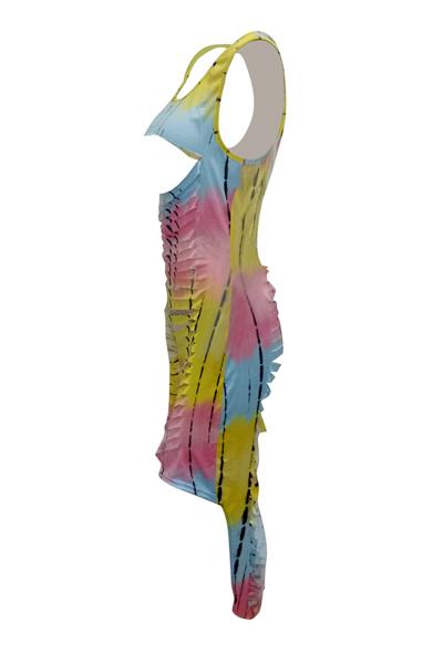 Vestito lungo della caviglia del fodero della fibra del latte di Hollow-out del collo rotondo sexy (stampa senza posizionamento)