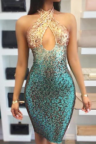 Euramerican  Sequined Decorative Sheath Knee Length Dress