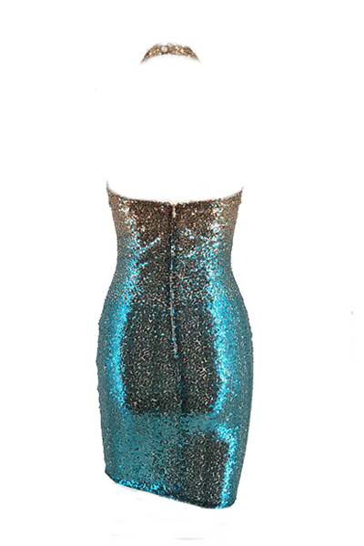 Euramerican Sequined Dekorative Mantel knielangen Kleid