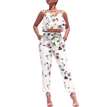 Charming V Neck Sleeveless Printed White Milk Fiber Two-piece Pants Set