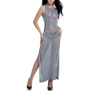 Sexy Round Neck Hollow-out Grey Polyester Cover-Ups(Without Lining)
