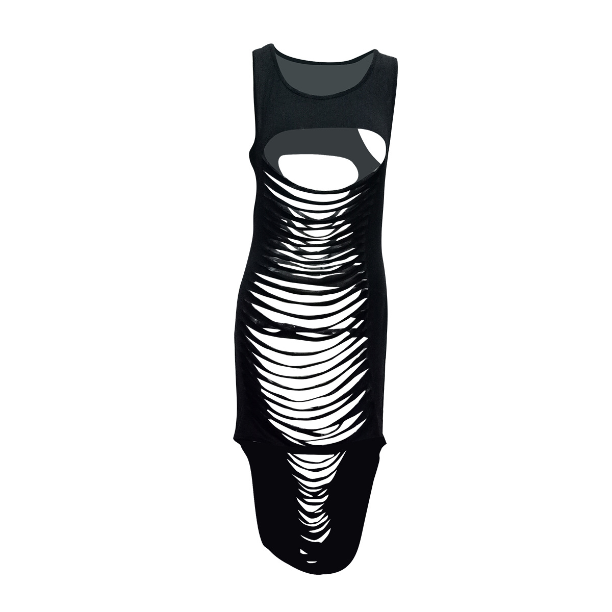 Sexy Round Neck Sleeveless Hollow-out Black Milk Fiber Sheath Ankle Length Dress(Non Positioning Printing)