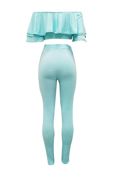 Сексуальное плечо плеча Falbala Design Blue Milk Fiber Комплект из двух частей