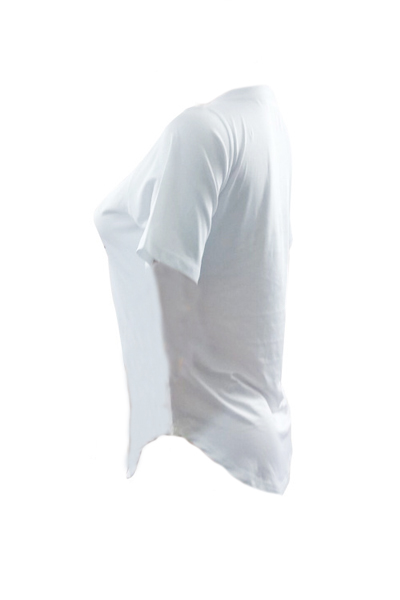 Leisure Round Neck Short Sleeves Printed White Cotton T-shirt