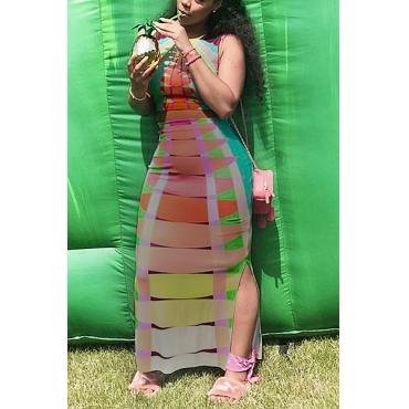 Stylish Round Neck Venetian Two-piece Skirt Set