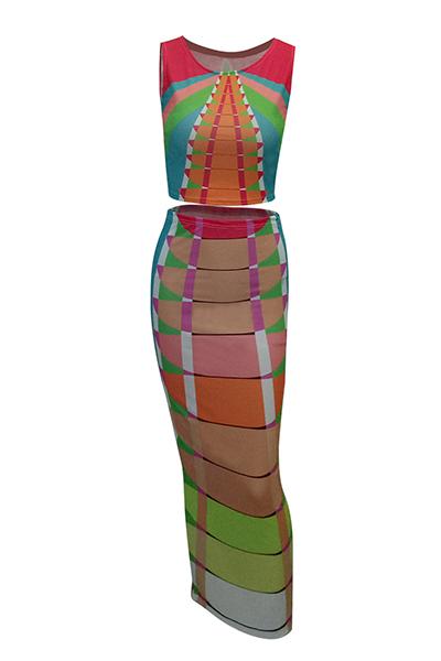 Стильная круглая шея венецианская двухсекционная юбка
