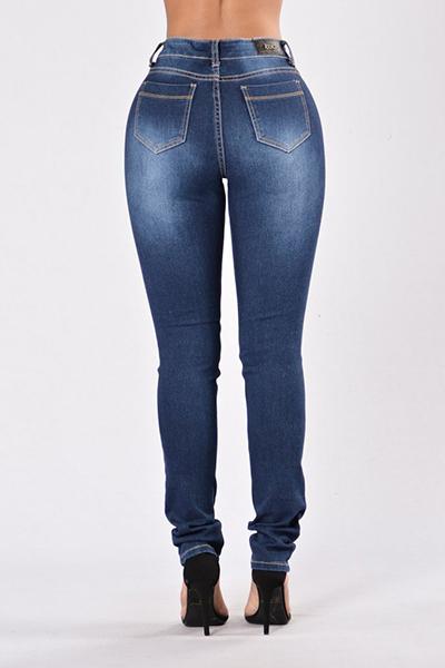 Denim Solid Zipper Fly Mid Regular Calças Jeans