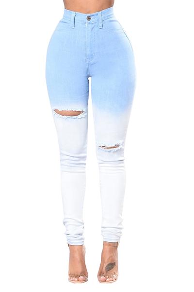 Encantadora Denim Sólido Cremallera Volar Altos Pantalones Regulares Jeans