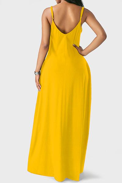 Вскользь V шеи Асимметричный желтый смешение Длина пола платье