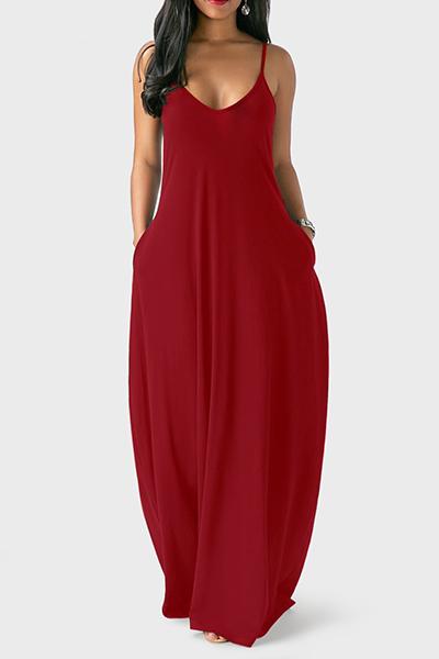 Вскользь V Шеи Асимметричный Вино Красный Смешение Этаж Длина Платье