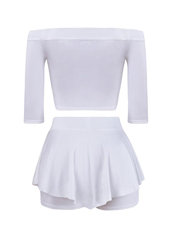 Stylish Dew Shoulder Half Sleeves Patchwork White Milk Fiber Two-piece Shorts Set