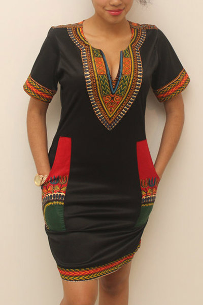 Ethnic Style V Neck Short Sleeves Totem Printed Black Milk Fiber Sheath Mini Dress