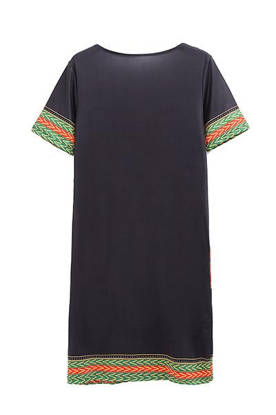 Этнический стиль V Шея с короткими рукавами Тотем Печатное Черное молочное волокно оболочка Мини платье